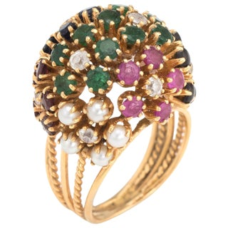 Vintage Dome Cocktail Ring Bombe Flowers 18 Karat Gold Rainbow Gemstones 5 For Sale