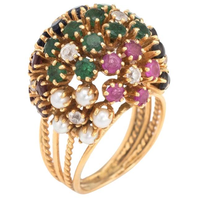 Vintage Dome Cocktail Ring Bombe Flowers 18 Karat Gold Rainbow Gemstones 5 For Sale