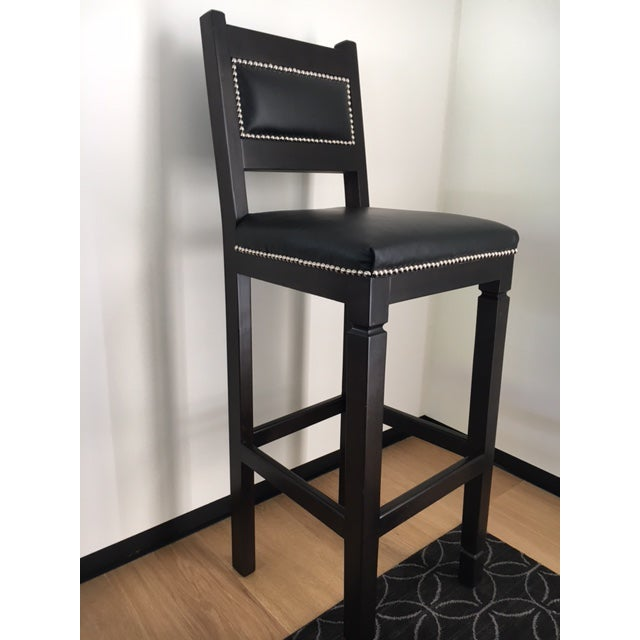 Modern Black Leather & Wood Bar Stools with Nailheads - Set of 3 For Sale - Image 3 of 6