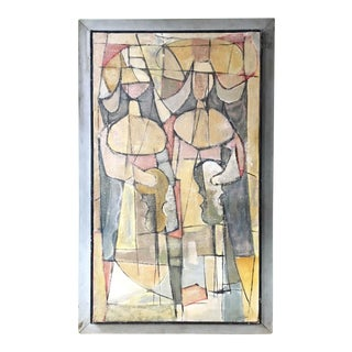 1940s Abstract Cubist Style Painting of French Nun Musicians For Sale