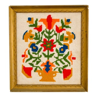 Vintage Folk Art Scandinavian Style Needlepoint Framed For Sale