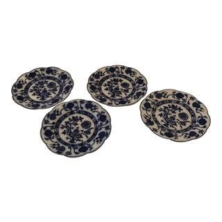 "Antique Johnson Bros. Blue Onion ""Holland"" Flow Blue Plates - Set of 4 For Sale"