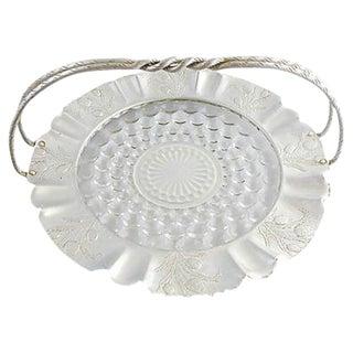 Vintage Glass & Aluminum Basket For Sale