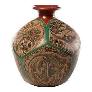 Nicaraguan Octagonal Sea Life Pottery Vase For Sale