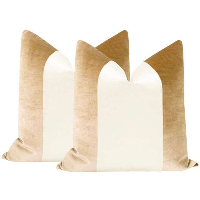 "22"" Champagne Velvet & Alabaster Silk Panel Pillows - a Pair For Sale"