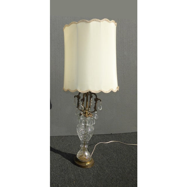 Vintage french provincial crystal table lamp w white lampshade vintage french provincial crystal table lamp w white lampshade image 3 of 5 aloadofball Images