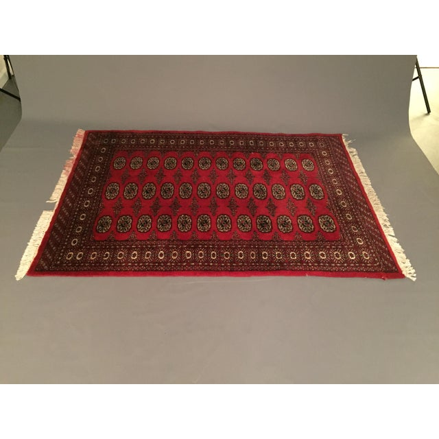 Textile Hand Knotted Woolen Bokhara Rug - 4' x 6' For Sale - Image 7 of 10