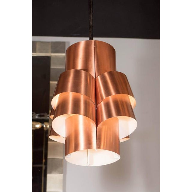 Hans-Agne Jakobsson Stunning Segmented Sculptural Pendant Lamp in Copper by Hans-Agne Jakobsson For Sale - Image 4 of 8