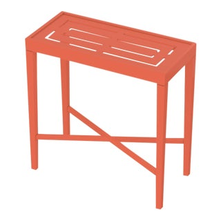 Oomph On the Rocks Rectangle Outdoor Side Table, Orange For Sale