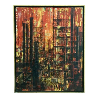 Mid Century Abstract Painting Brutalist Cityscape