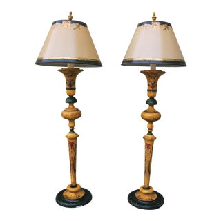 Painted Standing Lamps With Custom Shades - A Pair