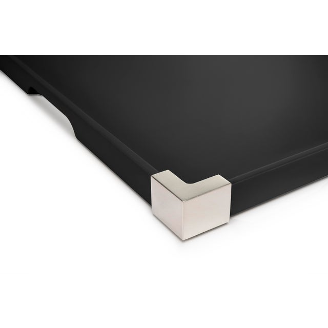 Contemporary Corners Tray Nickel in Licorice Black / Nickel - Rita Konig for The Lacquer Company For Sale - Image 3 of 4