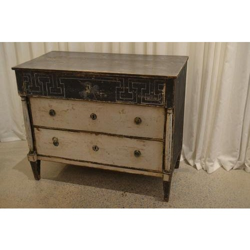 Fabulous one of kind antique 19th century painted chest from Spain. Has been newly painted in an antique/distressed...