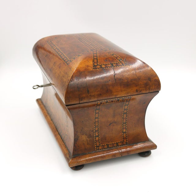 Wood Mid 19th Century Vintage English Fully-Fitted Walnut Tea Caddy For Sale - Image 7 of 10