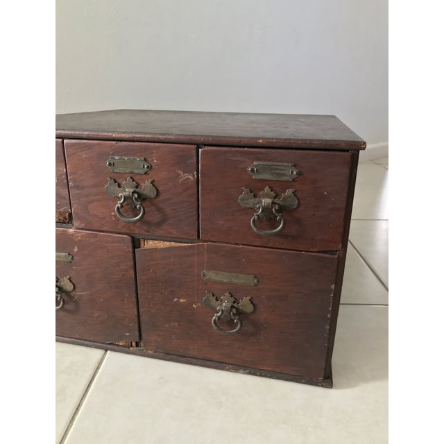 Boho Chic Antique 18th Chippendale Card File Cabinet Trunk For Sale - Image 3 of 13