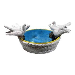 Vintage Italian Majolica Bird Bowl For Sale