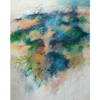 """Contemporary Abstract Acrylic Painting """"Blue Crescendo"""" by Mary Lou Siefker For Sale"""