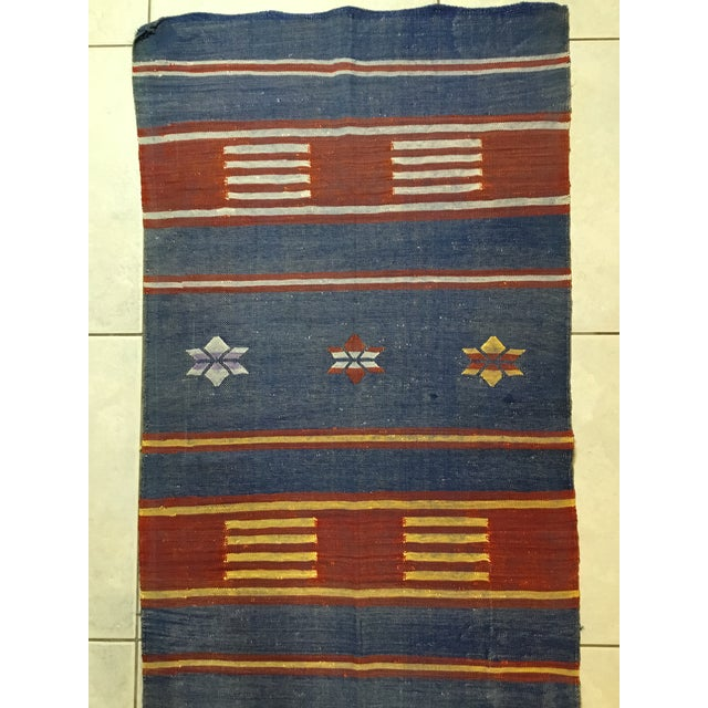 "Moroccan Cactus Silk Flat Weave Kilim Runner Rug - 25"" x 108"" - Image 8 of 11"