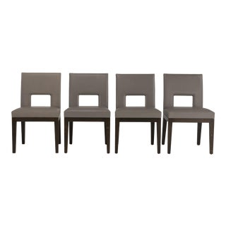 1990s Vintage Christian Liaigre Velin Leather & Oak Dining Chairs-Set of 4 For Sale