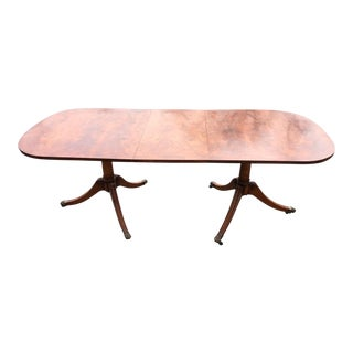 Late 20th Century Yew Wood Double Pedestal Dining Table