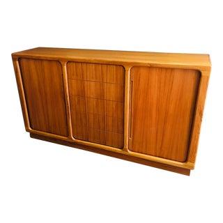 Vintage Teak Wood Credenza Storage Unit W/Tambour Doors Danish Modern For Sale