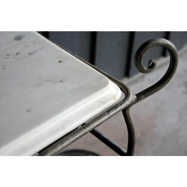 French Scrolled Iron Butcher / Pastry Table With White Marble Top For Sale In Dallas - Image 6 of 13