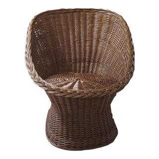 1970s Vintage Wicker Pod Chair For Sale
