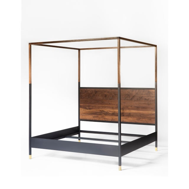 Contemporary Hampson Wood and Metal Canopy King Size Bed For Sale - Image 3 of 9