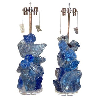Glass Rock Table Lamps by Swank Lighting Blue Crystal - a Pair For Sale