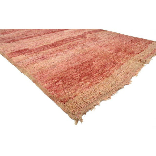 Abstract Vintage Berber Moroccan Rug with Sunset Colors For Sale - Image 3 of 4