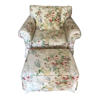Sunny Floral Lounge Chair & Ottoman - A Pair