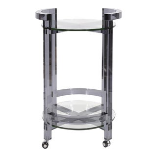 Kenneth Ludwig Smoked Acrylic Bar Cart For Sale