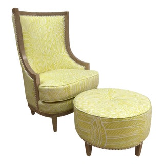 Royale Upholstered in Yellow Feather Motif Fabric Side Chair and Ottoman For Sale