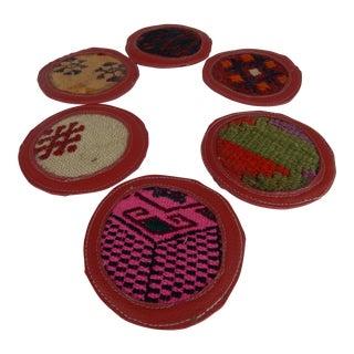 Rustic Kilim Coaster - Set of 6 For Sale