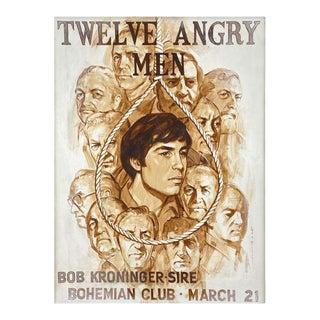 "Large Bohemian Club ""Twelve Angry Men"" Promo Painting by Van Megert, Circa 1960 For Sale"