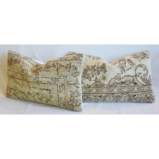"Antique Soumak Carpet Wool Feather/Down Pillows 26"" X 16"" - Pair For Sale - Image 9 of 13"