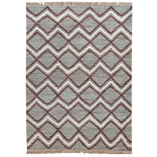 21st Century Modern Striped Flatweave Rug For Sale