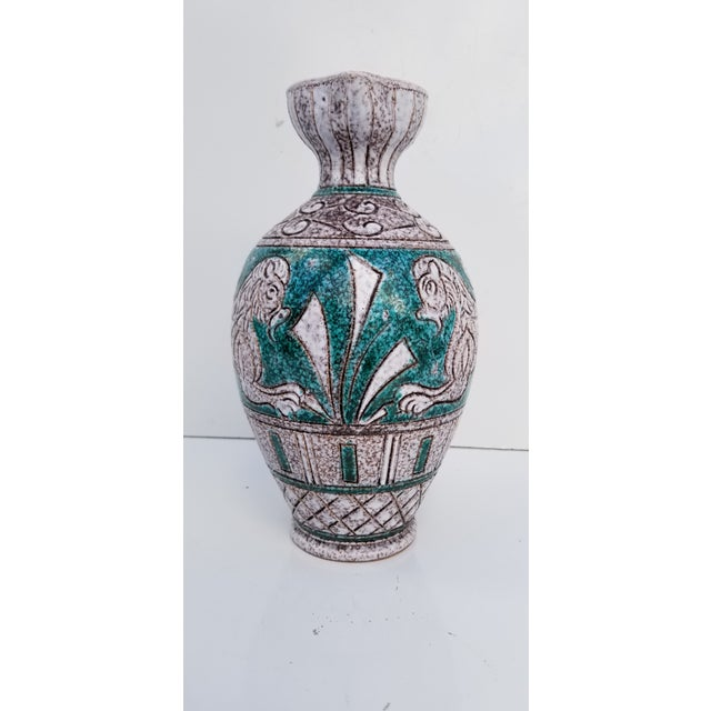 Italian Hand Painting Studio Pottery Vase For Sale In Miami - Image 6 of 12