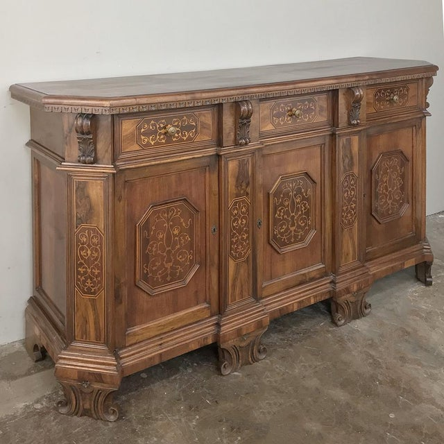 Wood Antique Italian Baroque Inlaid Walnut Buffet For Sale - Image 7 of 13