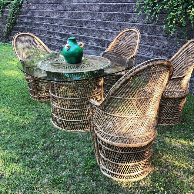 Wicker Bohemian Peacock Chair and Table Collection For Sale - Image 7 of 13