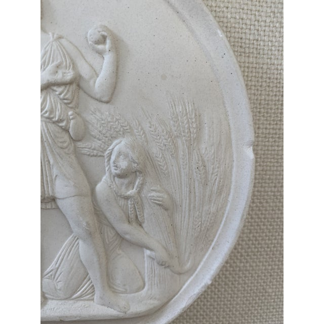 Antique Plaster Intaglio Plaque Framed in Antique Walnut and Gilt Frames - a Pair For Sale - Image 9 of 13