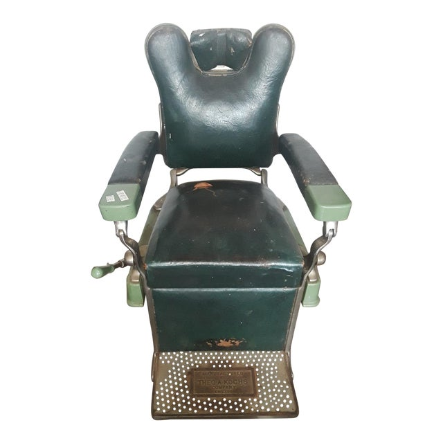 Vintage Theo-A-Kock Green Leather Barber Chair For Sale