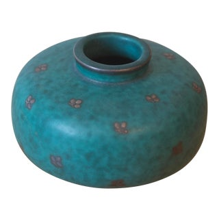 Swedish Gustavsberg Argenta Art Pottery Mid Century Green Vase For Sale