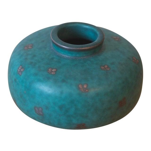 Swedish Gustavsberg Argenta Art Pottery Mid Century Green Vase For Sale
