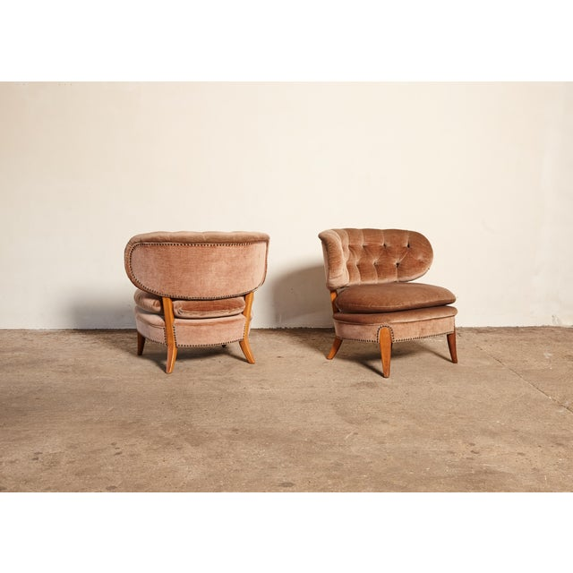 Pair of Otto Schulz 'Schultz' Easy Chairs, Sweden, 1940s-1950s For Sale - Image 6 of 11