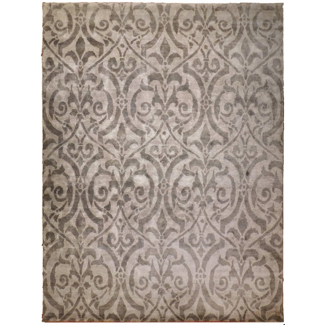 "Contemporary Bamboo Silk Damask Rug - 8′9″ × 11′9"" - Image 1 of 5"