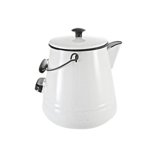Black & White Enamelware Kettle For Sale