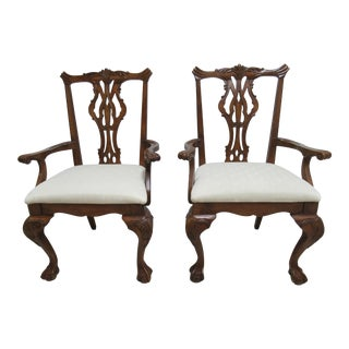Pair of Thomasville Vignettes Chippendale Ball Claw Dining Room Armchairs For Sale
