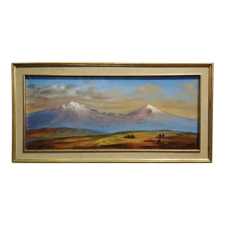 1960s Vintage Raymundo Martinez Panoramic View of Mexican Twin Mountains Oil Painting For Sale