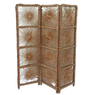 Mid Century Modern Rattan Folding Screen 3 Panel Room Divider Boho Headboard For Sale